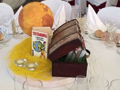 Centerpiece of the travelers, in a rustic wedding