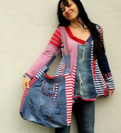Crazy striped denim jeans recycled hip bag by jamfashion on Etsy
