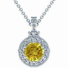 Platinum Round Cut Yellow Sapphire And Round Diamond Pendant GemsNY. $3533.00. Save 50% Off!
