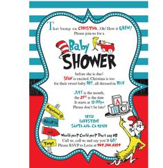 Printable Dr Seuss Baby Shower Invitations For One Baby Twins Or