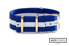 Navy and White NATO with Rose gold hardware | Rose Gold Metal NATO | Watch Straps Australia