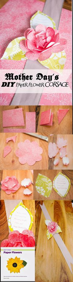 DIY Paper Flower Corsage Tutorial | Simple Inexpensive Mother's Day Gift Ideas by DIY Ready at http://diyready.com/diy-gifts-mothers-day-ideas/
