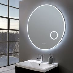 The larger, deluxe Allure Ultra Slim Round LED Illuminated Mirror with Magnifier will leave your bathroom looking light, bright and luxurious. Bathroom Mirror Lights, Led Mirror, Mirror With Lights, Bathroom Lighting, Lighted Mirror, Acrylic Mirror, Compact Bathroom, Bathroom Shop, Bathrooms