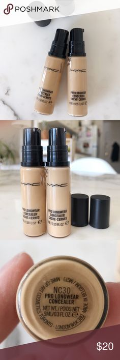 2️⃣ MAC Pro Longwear Concealer Set Shades in this bundle: NC 30 darker  NC 20 lighter The best concealers. Can be used as foundation. I used them when between seasons. Less than 6 months old.  Black line Indicated in pictures how much product left.  Please ask any questions before you buy. Always open to reasonable offers. Thanks for looking. 😘✌️ Bundle&Save 15% off on 2+ items MAC Cosmetics Makeup Concealer