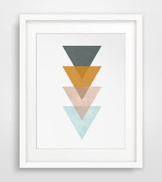 Mustard Yellow Triangle Print Turquoise Blue by MelindaWoodDesigns #Triangle #aztec