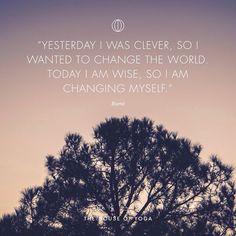"""""""Yesterday I was clever, so I wanted to change the world. Today I am wise, so I am changing myself."""" - Rumi"""