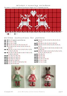Cable Knitting Patterns, Christmas Knitting Patterns, Knitting Charts, Baby Knitting, Knitted Bunnies, Knitted Animals, Knitted Dolls, Knit Stitches For Beginners, Crochet Doll Tutorial