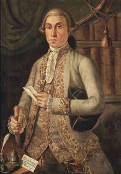 Venetian School, 18th Century Portrait of Duke Adalberto Mocenigo, half-length, in a pale green embroidered coat and matching waistcoat, his tricorn under his left arm, opening a letter at a desk, before a draped curtain with identifying inscription 'A.S.A. Serenissima / il Duca Adalberto / Mocenigo' (lower left) oil on canvas