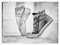 Ballet shoes converse - this describes me so well. Ballet Shoes Drawing, Ballerina Drawing, Ballet Drawings, Dancing Drawings, Ballet Art, Cute Drawings, Drawing Sketches, Pencil Drawings, Shoe Drawing