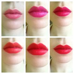 Revlon lipsticks.  Top, left to right - Pink in the Afternoon, Wild Orchid, Cherries In The Snow Bottom, left to right -  Kiss Me Coral, Fire and Ice, Love That Red