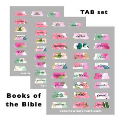 Floral hand lettered bible journaling tabs valeriewienersart.com Printable Tabs, Printable Planner, Bible Art, Book Art, Bible Book, Large Print Bible, Planners, Pretty Letters, Book Letters