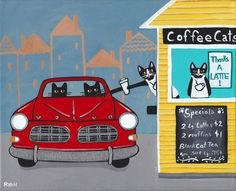 The Drive Through Coffee House Original Cat Folk by KilkennycatArt