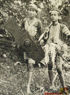 'Moro Warriors with Spear and Shield'  c. 1904