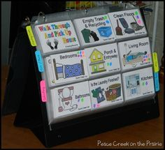 Easy Peasy Chores System displayed on a presentation binder. I think this is a brilliant way to create a flip-chart! Preschool Chores, Toddler Chores, Toddler Discipline, Chore Rewards, Behavior Rewards, Behavior Management, Reward System For Kids, Chore System, Chore Chart Kids
