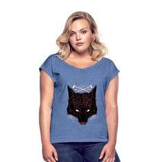 Geschenke Shop | We are freaks Wolf - Frauen T-Shirt mit gerollten Ärmeln Aloe Vera, Wolf, V Neck, Fashion, Women's T Shirts, Chic, Cotton, Moda, Fashion Styles