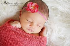 Newborn Headband Coral Pink Hydrangea by ASweetSweetBoutique, $8.00