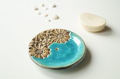 Turquoise Soap Dish Circle Soap Dish Ceramic Soap Dish by bemika Ceramic Soap Dish, Ceramic Clay, Ceramic Pottery, Soap Dishes, Cerámica Ideas, Pottery Animals, Clay Design, Pottery Designs, Ceramic Flowers