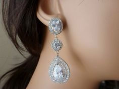 Bridal Earrings  Wedding Earrings  Large by MyTinyStarShining, $45.00
