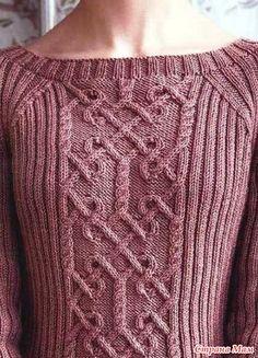 Добрый день, моя любимая Страна Мамочек! Вот и кончилось лето и наступили холодные дни, хочется теплых уютных вещей. Небольшая подборка свитеров. Пуловер с арановым узором