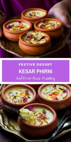 Kesar Phirni Recipe - Creamy Indian Rice Pudding infused with Saffron and cardamom - served chilled with slivered almonds and Pistachios. Easy Indian Dessert Recipes, Easy To Make Desserts, Indian Desserts, Indian Sweets, Indian Dishes, Sweets Recipes, Indian Food Recipes, Delicious Desserts, Cooking Recipes