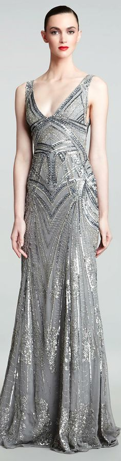 Monique Lhuillier ● Art Deco Embroidered Gown