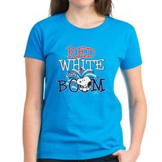 f25497132f7 Snoopy - Red White  amp  Boom Tee on CafePress.com Tees For Women