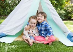 Teepee Mini Sessions! Newport Beach Children's Photographer, CA, Cali, California, Outdoors, Fun, Adorable, Cute, Summer, Pretty Day, Sunny, Brothers, Boys, Teepee, Mint, Grey, Blue, Tan Rug, Fuzzy Rug, Checkered Shirts, Coral Pants, Blue Shorts, Love, Siblings, Family, Brothers Hugging, Children, Kids, Laughter, Cute Smiles, Fun Kids  GilmoreStudios.com