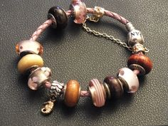 PANDORA Pink Leather Bracelet with Wood Charms and Pink Murano.