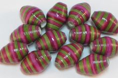 Paper beads- Recycled paper beads- Loose paper beads- Beading supplies- Jewelry Supplies- Upcycled- Bi-cone beads- Striped beads- Beads by SunshineJStudio on Etsy