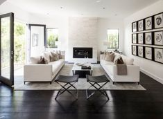 I like this shape for custom family room sofa. two sofas facing each other in living room white and black Glamour Living Room, Living Room Sofa, Living Room Decor, Living Spaces, White Living Room Furniture, Black And White Living Room, Black White, Decor Scandinavian, Furniture Placement