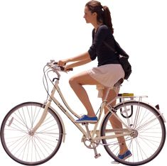 woman waiting on bike, side on