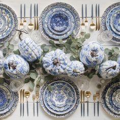 RENT: Blue Fleur dis Lis Charger + Blue Garden Collection Vintage China + Vintage Pressed Glass Goblets + Goa Flatware in 24k Gold/Blue + Antique Crystal Salt Cellars SHOP: Goa Flatware in 24k Gold/Blue