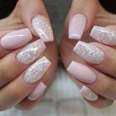 Pink and glitter wedding nail ideas #nails