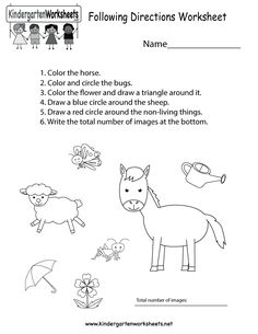 Following Directions Worksheet Free Kindergarten Learning For Kids