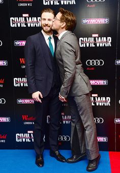 Robert Downey Jr kissing Chris Evans in the cheek || Captain America: Civil War premiere || London, April 2016