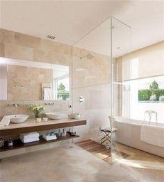 Bathroom:Brown Marble Wall Tile Glass Devider Modern Bathroom Design Calm And Beautiful Neutral Bathroom Interior Design Travertine Bathroom, Wood Bathroom, Bathroom Renos, Bathroom Colors, Modern Bathroom, Small Bathroom, Bathroom Vanities, Bathroom Canvas, Mirror Bathroom