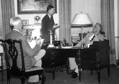 Fred Shipman (standing) meets with FDR in the President's Library Study. Monument Men, Presidential Libraries, National Archives, Monuments, World War Ii, Presidents, Museum, Study, Books