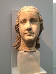 TUSCAN SCULPTURE   Active in the middle of 14th  Century  Female head  From a theological virtue sculpture, carita?   Sand Stone    High cm. 28 ca