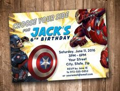 Captain America Civil War Personalized Birthday Invitation *Digital Download* by appacadappa on Etsy