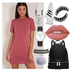 """."" by muahdani ❤ liked on Polyvore featuring MICHAEL Michael Kors, Lime Crime, adidas, Daniel Wellington, Vanessa Mooney and Dena"