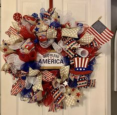 Decorative Glass Blocks, Patriotic Decorations, God Bless America, 4th Of July Wreath, Blessed, Wreaths, My Love, Summer, Red