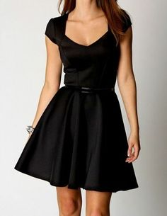 New Womens Vintage Style Capped Sleeve Sweetheart Skater Black Dress s M L XL | eBay
