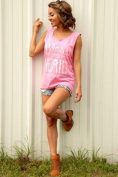Lauren James: Bless Your Heart Tank: Pink