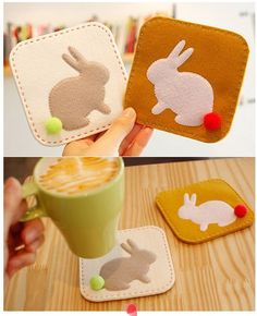 Felt bunny coasters with pompoms Felt Diy, Felt Crafts, Diy And Crafts, Crafts For Kids, Cute Coasters, Felt Coasters, Easter Projects, Easter Crafts, Sewing Projects