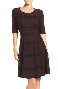Ivanka Trump Plaid Sweater Knit Fit & Flare Dress available at #Nordstrom