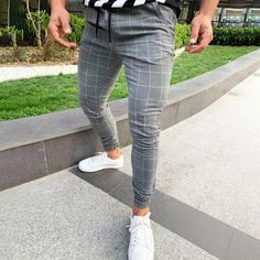Solid Plaid Drawstring Side Pocket Tapered Pants – maxgonia Plaid Pants, Casual Pants, Men Casual, Stylish Men, Skinny Chinos, Skinny Pants, Elastic Waist Pants, Slim Fit Pants, Stretch Pants