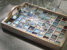 Beach Glass Mosaic Tray by MashedPotatoMosaics on Etsy Mosaic Tray, Sea Glass Mosaic, Mosaic Tiles, Stained Glass, Mosaic Crafts, Mosaic Projects, Coloured Grout, Mosaic Stepping Stones, Mosaic Flower Pots