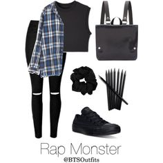 School with Rap Monster by btsoutfits on Polyvore featuring Converse and Kate Sheridan