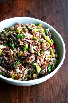 In this wheat berry salad, wheat berries and walnuts combine with asparagus and radishes in an addictive, chewy, crunchy, colorful combination