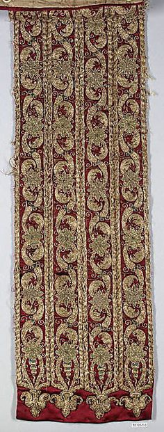 Fragment  Date: 16th century  Culture: Italian  Medium: Silk and metal thread on silk  Dimensions: L. 55 x W. 7 5/8 inches (139.7 x 19.4 cm)  Classification: Textiles-Embroidered  Accession Number: 33.95.50
